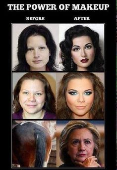 The power of makeup is wild as these before and after make up pictures show us. It is amazing what you can do with a horses ass. Make Me Smile, Make Up, Makeup Before And After, Power Of Makeup, Twisted Humor, Just For Laughs, Laugh Out Loud, The Funny, In This World