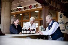 New owners Keith Greggor and Tony Foglio get together with Fritz Maytag at the Anchor Brewing Company in San Francisco. Photo: Gene X Hwang, Orange Photography