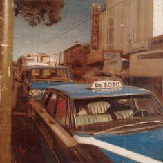 """Cabs at Castro"" Oil on Canvas, 12""x12"" - David Imlay"