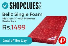 """Shopclues #DealofTheDay is offering 70% off on Bellz Single Foam Mattress 3"""" with Mattress Protectors just at Rs.1499. Mattress provides just the right combination of comfort and support for good sleep, that right for your body.  http://www.paisebachaoindia.com/bellz-single-foam-mattress-3-with-mattress-protectors-just-at-rs-1499-shopclues/"""