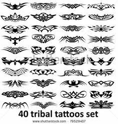 Imagens, fotos stock e vetores similares de Set of 31 tribal tattoo for women (set - 120623329 Tribal Tattoos For Women, Leg Tattoos Women, Tribal Tattoo Designs, Back Tattoos, Body Art Tattoos, Tattoos For Guys, Deep Tattoo, Tattoo Set, Roots Tattoo