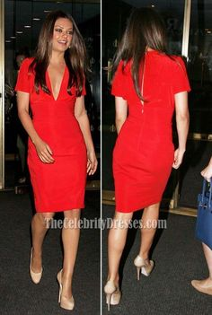Mila Kunis Red Knee-Length Prom Gown Cocktail Dress