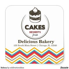 sold #Bakery Square Sticker #dessert #cakes Available in different products. Check more at www.zazzle.com/celebrationideas