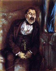 Adolph van Menzel, Hombre bostezando en una calesa (1859), Kupferstichkabinett, Berlín.