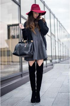 brick red Massimo Dutti hat - black Jessica Buurman boots - gray OASAP dress