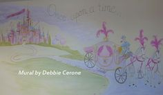 Pink Castle Mural, dotted with glitter and featuring girl's name on large banner - and horse driven carriage - make this the perfect mural for 4 year old girl who loves Cinderella!