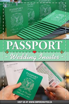 ☀️ Green passport wedding invitations for a destination wedding in Punta Cana! Wedding Invitations Canada, Passport Wedding Invitations, Wedding Invitation Design, Wedding Stationary, Cruise Ship Wedding, Punta Cana Wedding, Wedding Abroad, Love Is In The Air, Destination Weddings
