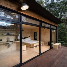 The Brazil based architecture firm, Silvia Acar Arquitetura, were responsible for the design of this small forest cabin. Dubbed Chalet M, the cabin can be One Room Cabins, Cabins In The Woods, One Room Houses, Tiny House Cabin, Tiny House Living, Tiny Houses, Tiny Cabins, Wood Cabins, Modern Houses