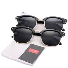 39066a6df42 Pro Acme (Pack of 2) Semi Rimless Polarized Clubmaster Su... https