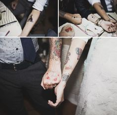 temporary tattoos are so cool for your wedding guests to play with!