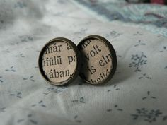 Old book paper earring.