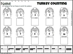 Cut and Paste math activity for numbers 1 to 10 on Turkeys. Fun fall or Thanksgiving activity. Students practice matching numbers to ten frames with this cut a paste activity which is aligned to th…