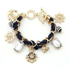 Sailor Fashion Anchor Boat Rudder Wheel Charm Bracelet -- cute!