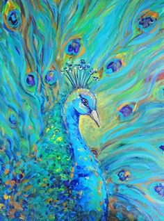 Proud Peacock of rich teals, blues, greens, acrylic painting on canvas.