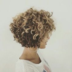 Curly bob with highlights