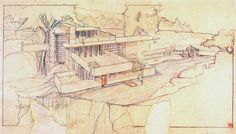 Frank-Lloyd-Wrigh Frank Lloyd Wright * Architecture and life 6 Frank Lloyd Wright Falling Water drawing architecture