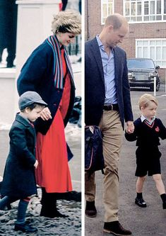 1987 - 2017 Prince William looked very proud as he took his son to school for the first time today 30 years on from when his mother Princess Diana took him to class for the first time. The Last Princess, Princess Diana Family, Royal Princess, Prince And Princess, Princess Charlotte, Prince George Alexander Louis, Prince William And Catherine, Spencer Family, Lady Diana Spencer