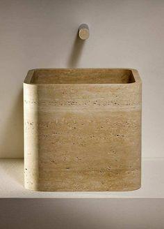 Travertine Bathroom, Stone Bathroom, Unique Home Decor, Cheap Home Decor, Bucket Sink, Tadelakt, Bathroom Toilets, Bathroom Interior Design, Interior Modern