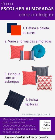 Como arrumar almofadas no sofá como um designer • Esse é O truque de styling mais barato e eficiente pra deixar sua sala aconchegante e cheia de charme. Como misturar almofadas.
