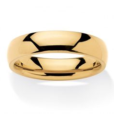 Men's Comfort Fit 5 mm Wedding Band in Gold Ion-Plated Stainless Steel at Viomart.com