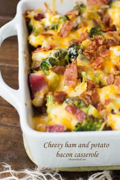 cheesy ham and potato bacon casserole to use up all of those holiday leftovers via @ohsweetbasil