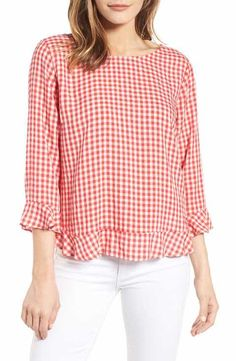 Main Image - Velvet by Graham & Spencer Ruffled Check Blouse Kurta Designs Women, Casual Outfits, Fashion Outfits, Short Tops, Business Outfits, Clothing Patterns, Blouses For Women, Ideias Fashion, Graham Spencer