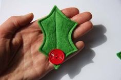 Cute felt Holly brooch with vintage button by christmasclaire, £6.00