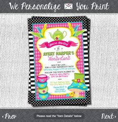 Alice in Wonderland Birthday Invitation - Tea Party Invitations - Alice in ONEderland UnBirthday