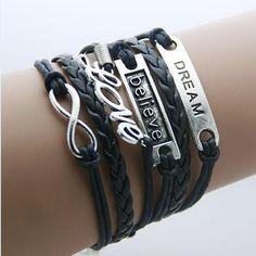 Only $19.97! Infinity, Cursive... http://simplyparisboutique.com/products/infinity-cursive-love-believe-and-dream-pendant-bracelet?utm_campaign=social_autopilot&utm_source=pin&utm_medium=pin