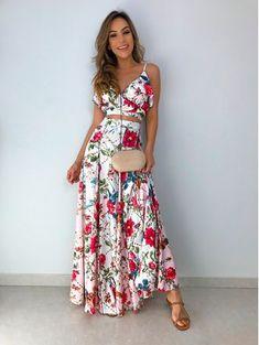 Saia-Longa-Larissa-Floral Elegant Dresses, Cute Dresses, Casual Dresses, Fashion Dresses, Summer Dresses, Yellow Maxi Dress, Chiffon Dress, Dress Skirt, Honeymoon Outfits