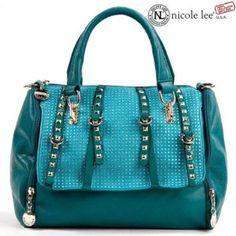 Nicole Lee Handbag Kelsy Rhinestone Studded Boston Bag Green