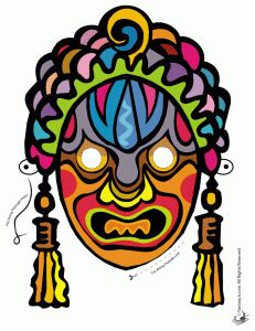 ooo, scary Chinese New Year printable masks (colorable) - they ward off evil spirits