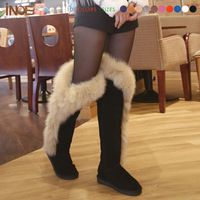 High quality real genuine leather nature fox fur fashion snow ...