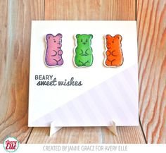 Jamie Gracz for Avery Elle Beary Sweet Clear Stamps, Zen Patterned Paper Collection, Card Easel Die