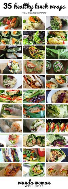35 Healthy Lunch Wraps | Lose Weight without Exericse links to all recipes here. Not all are vegan but many are.