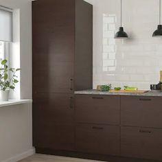 ASKERSUND Door - dark brown ash effect - IKEA Dark Brown Kitchen Cabinets, Kitchen Cupboard Doors, Kitchen Knobs, Brown Kitchens, Replacement Kitchen Doors, Open Plan Kitchen Dining, Ikea Family, Cabinet Styles, Wood Patterns