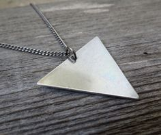 Men's Necklace  Blackend Silver Plated Triangle by Galismens