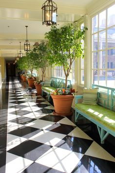 Blue Chippendale bench with green cushion in Corridor to Ballrooms at the Carolina Inn via The Gracious Posse