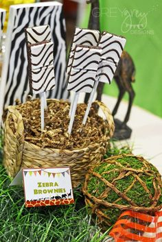The zebra brownies at this Zoo, Safari Birthday Party are awesome!! See more party ideas and share yours at CatchMyParty.com