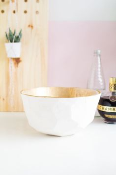 DIY Gold and White Punch Bowl