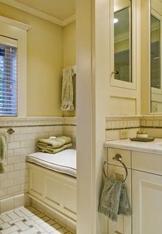 White Subway Tile Bathroom Design, Pictures, Remodel, Decor and Ideas - page 7 White Subway Tile Bathroom, Subway Tiles, Bathroom Bench, Bathroom Tile Designs, Bathroom Ideas, Bathroom Stuff, Shingle Style Homes, Tile Trim, Traditional Bathroom