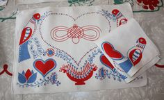 Vintage Folksy Luncheon Linens for 4: American by FelicesFinds