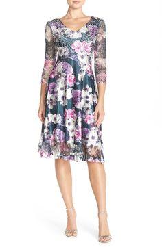Komarov Floral Print Chiffon A-Line Dress (Regular