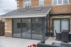 The return is made up of a fixed picture window, with a shaped head running in line with the pitch of the roof House Extension Plans, House Extension Design, Extension Designs, Roof Extension, House Design, Extension Ideas, Kitchen Diner Extension, Open Plan Kitchen Diner, Open Plan Kitchen Living Room