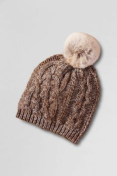 Lands' End Women's Fur Pom Aran Knit Hat, If only it were going to barely be winter! Winter Sweaters, Winter Hats, Boho Work Outfit, Beanie Hats, Beanies, Women's Hats, Knit Beanie, Head Accessories, Cool Hats