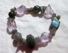 "Natural Amethyst Labradorite Nuggets Stretchy Healing Bracelet 3-18.0mm 7"" #EWArtistry #Beaded"