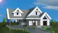 small traditional house made in minecraft. mine Minecraft Castle Designs, Minecraft Small House, Modern Minecraft Houses, Minecraft Plans, Minecraft Houses Blueprints, Minecraft Decorations, Minecraft Tutorial, Minecraft Architecture, Minecraft Buildings