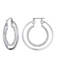 Take a look at this Silver SWAROVSKI ELEMENTS Double Hoop Earrings by Annaleece on #zulily today!