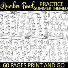 These Number Bond SUMMER Themed practice sheets are a great way to keep your kiddos sharp with their math facts up to There are four different options: Number bonds horizontal with filling in a missing addend pages) Number Subitizing Activities, 1st Grade Activities, 1st Grade Math Worksheets, First Grade Math, Number Bonds Worksheets, Printable Numbers, Basic Math, Math Facts, Classroom Activities