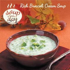 Rich Broccoli Cream Soup Recipe from Taste of Home -- shared by Carol Macagno, Fresno, California
